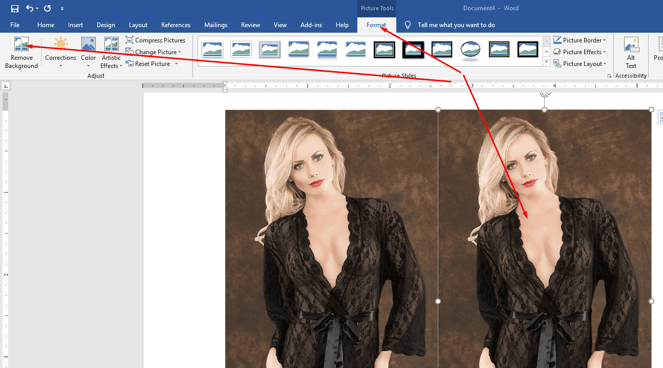 click format menu and click background remove ribbon tab